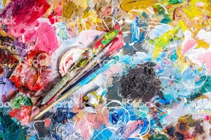 Palette of artist  and brushes with  knife